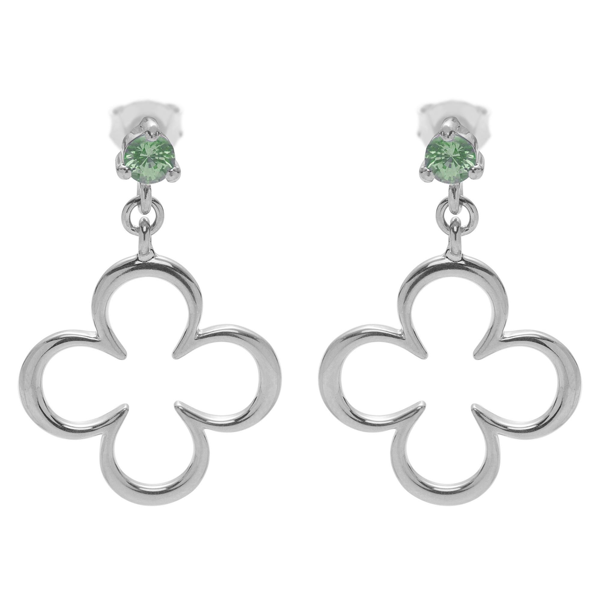 Boucles d'oreilles saphir vert trèfle en argent