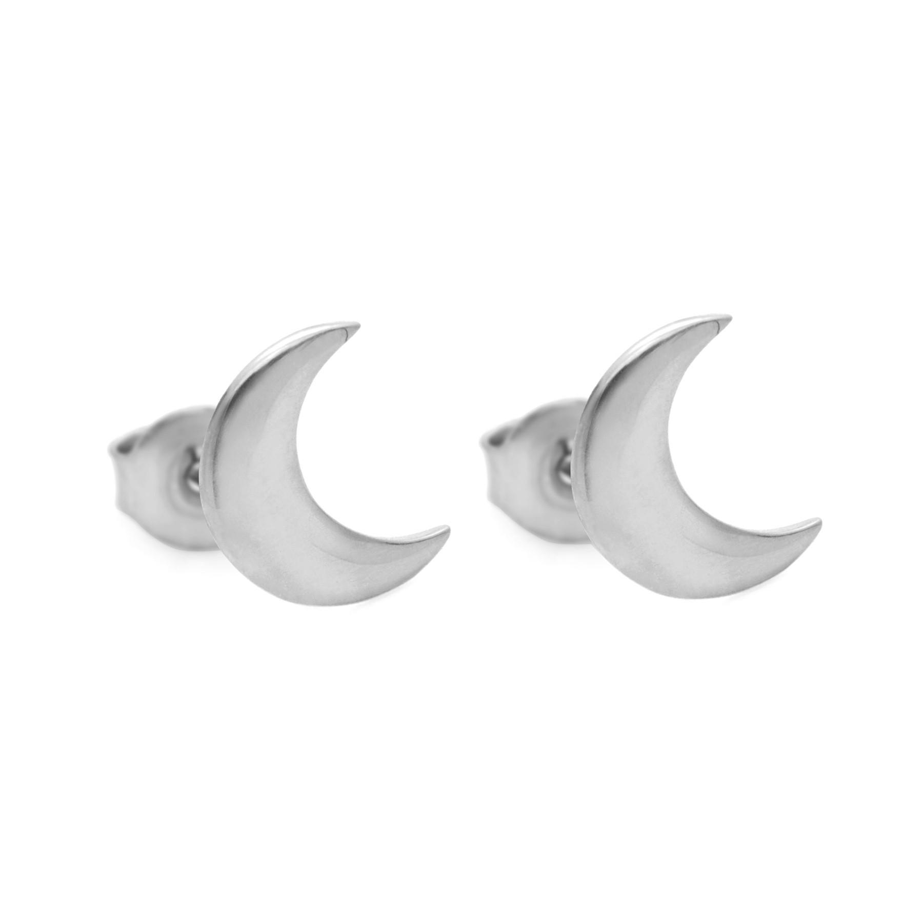 Boucles d'oreilles puces Lune en argent