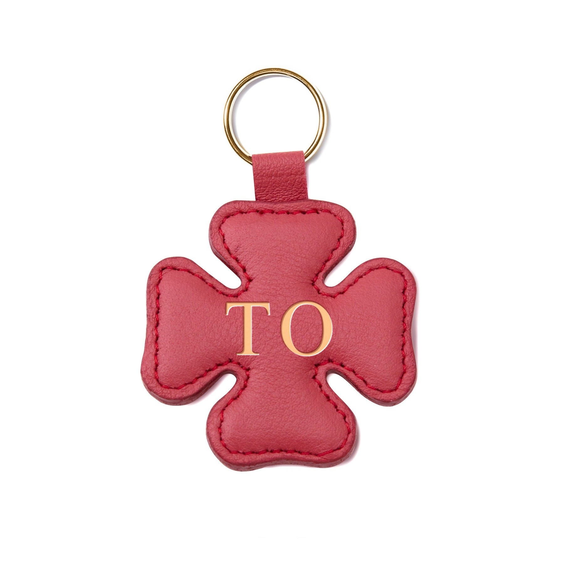 Porte-clé personnalisé en forme de trèfle, rouge, anneau couleur or