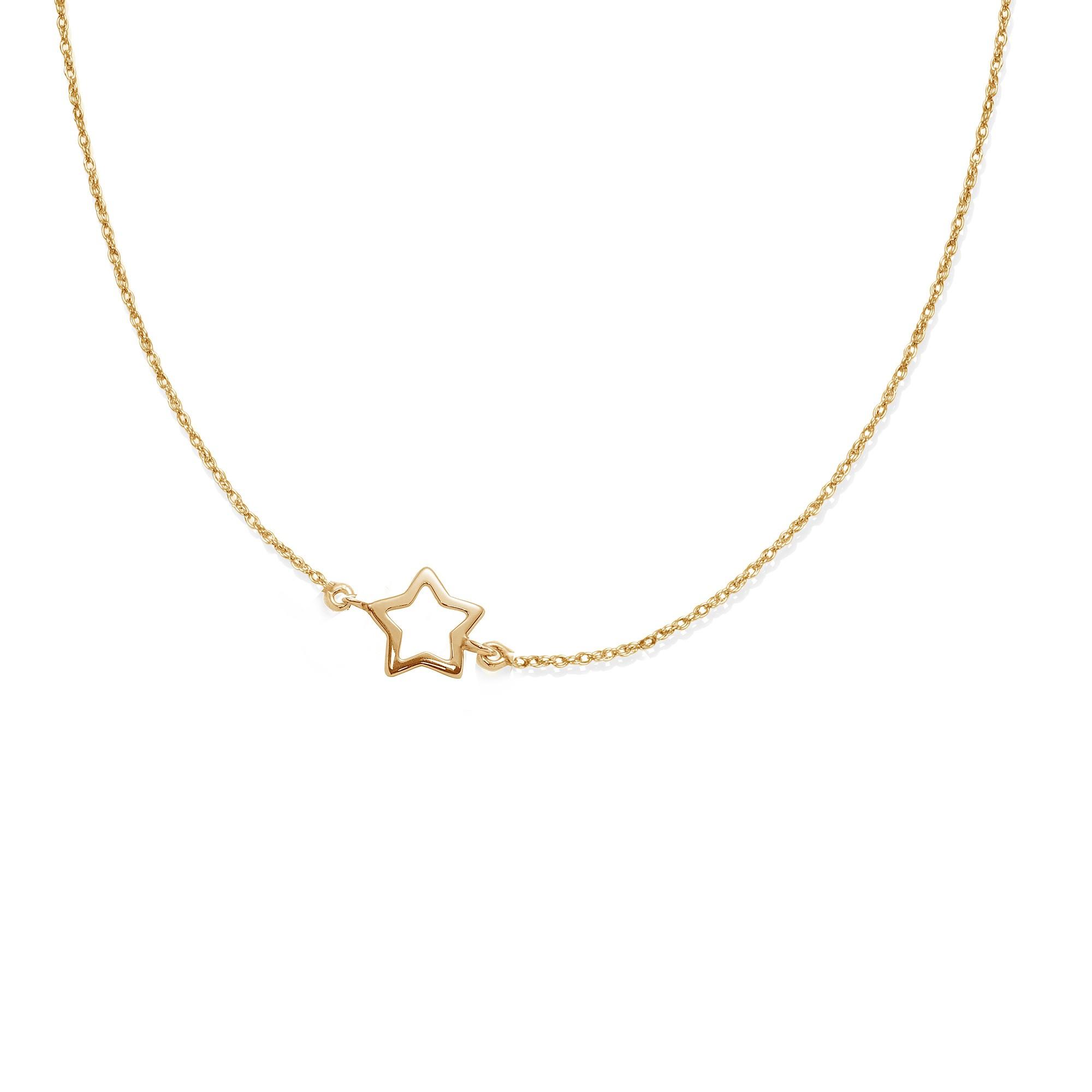 Collier chaîne avec une étoile ajourée plaquée or