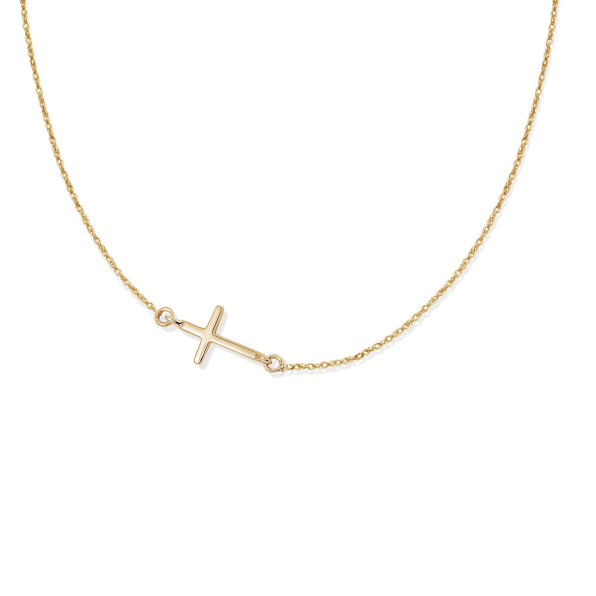 Collier chaîne avec une croix plaquée or