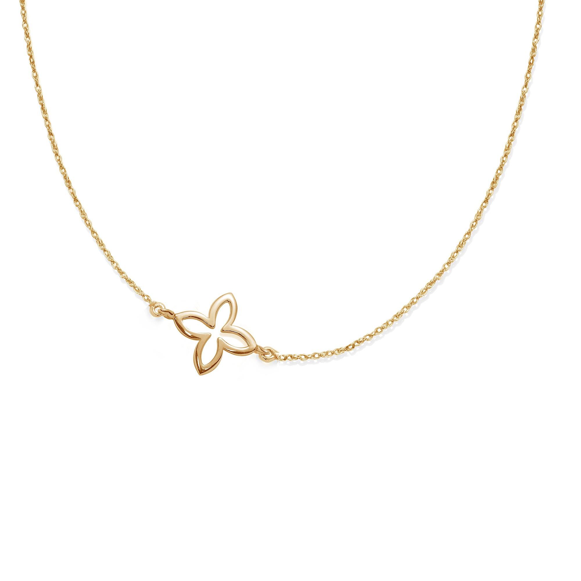 Collier chaîne avec une fleur de lys ajourée plaquée or