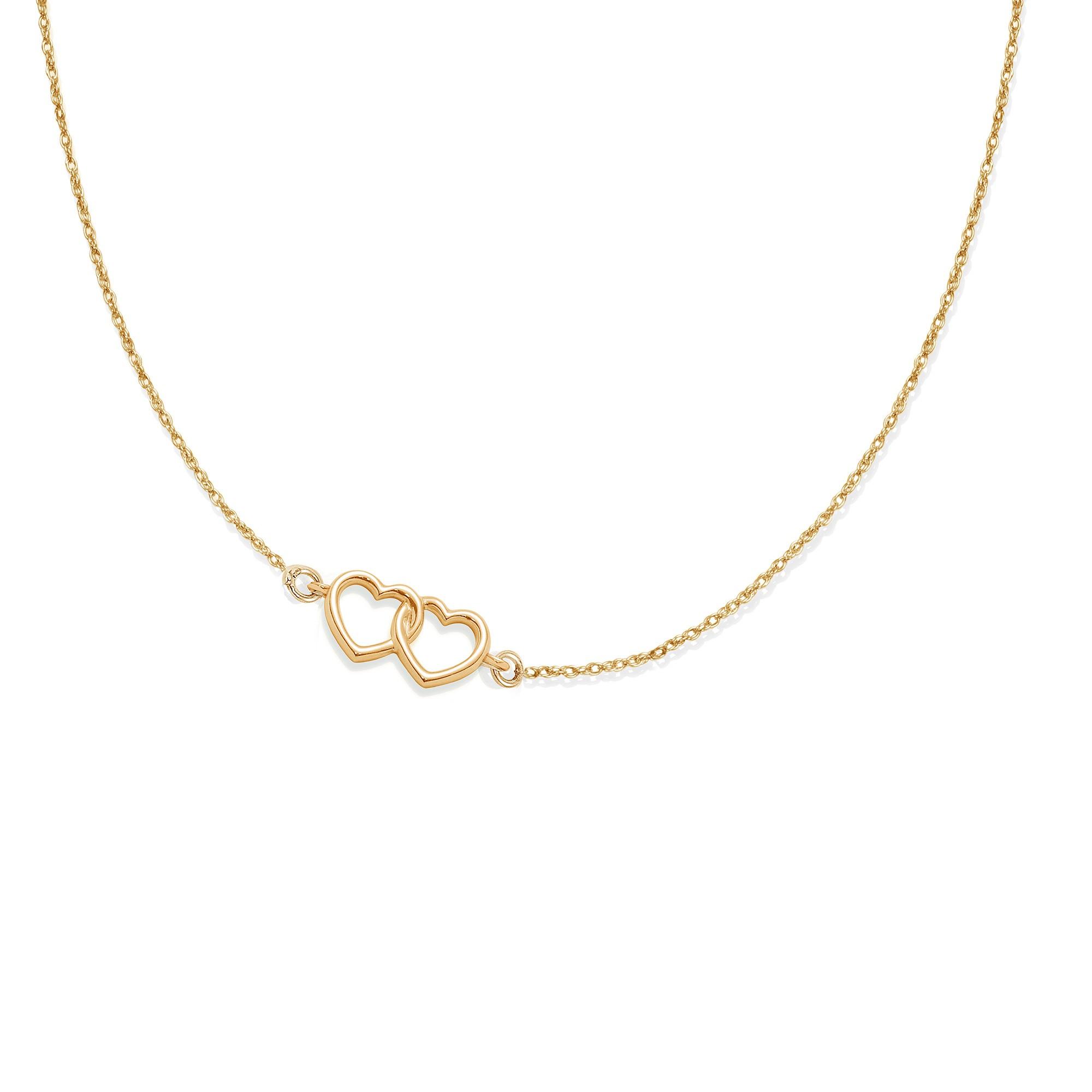 Collier chaîne avec deux cœurs joints plaqués or