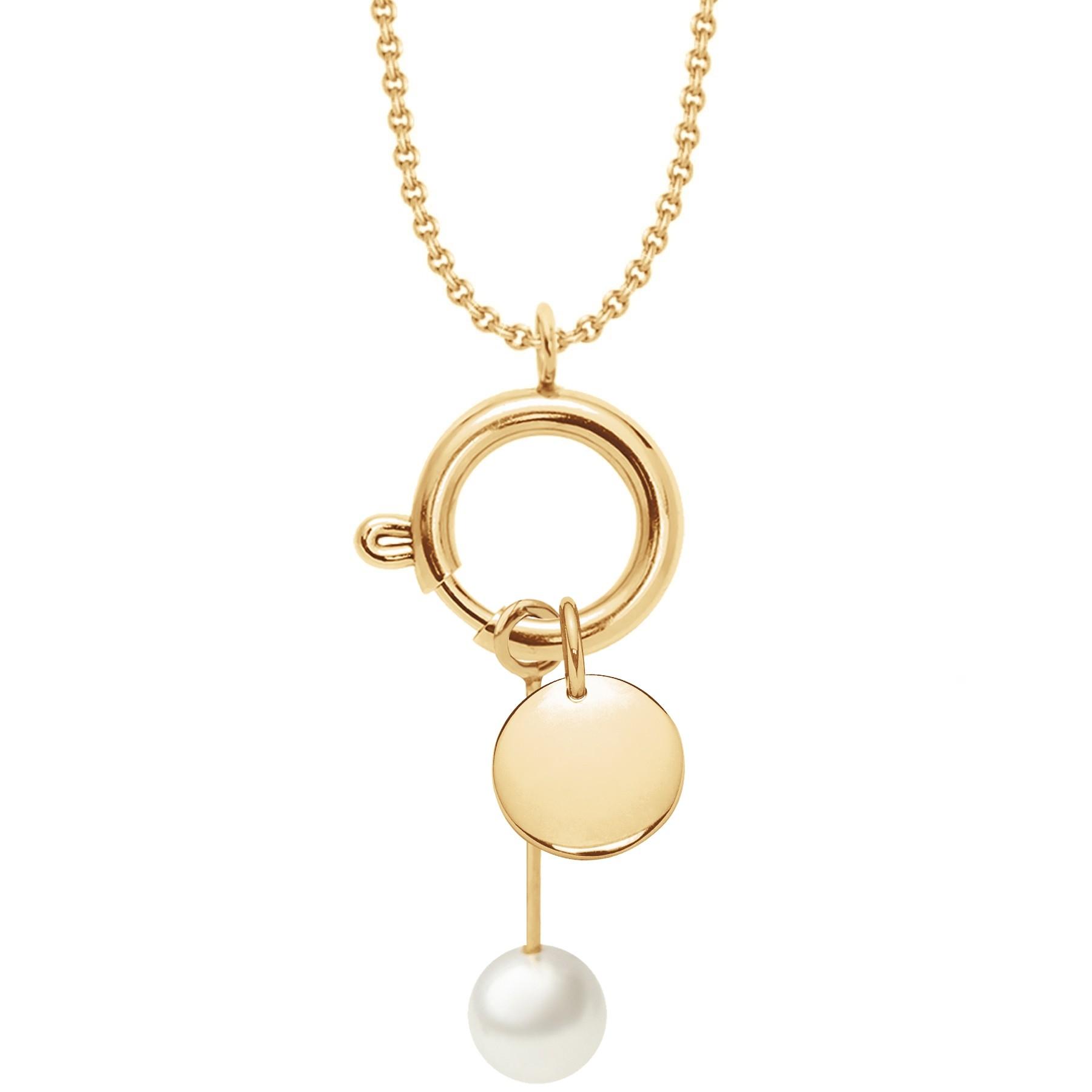 Collier-fermoir bijou, pendentif perle et médaillon, plaqué or