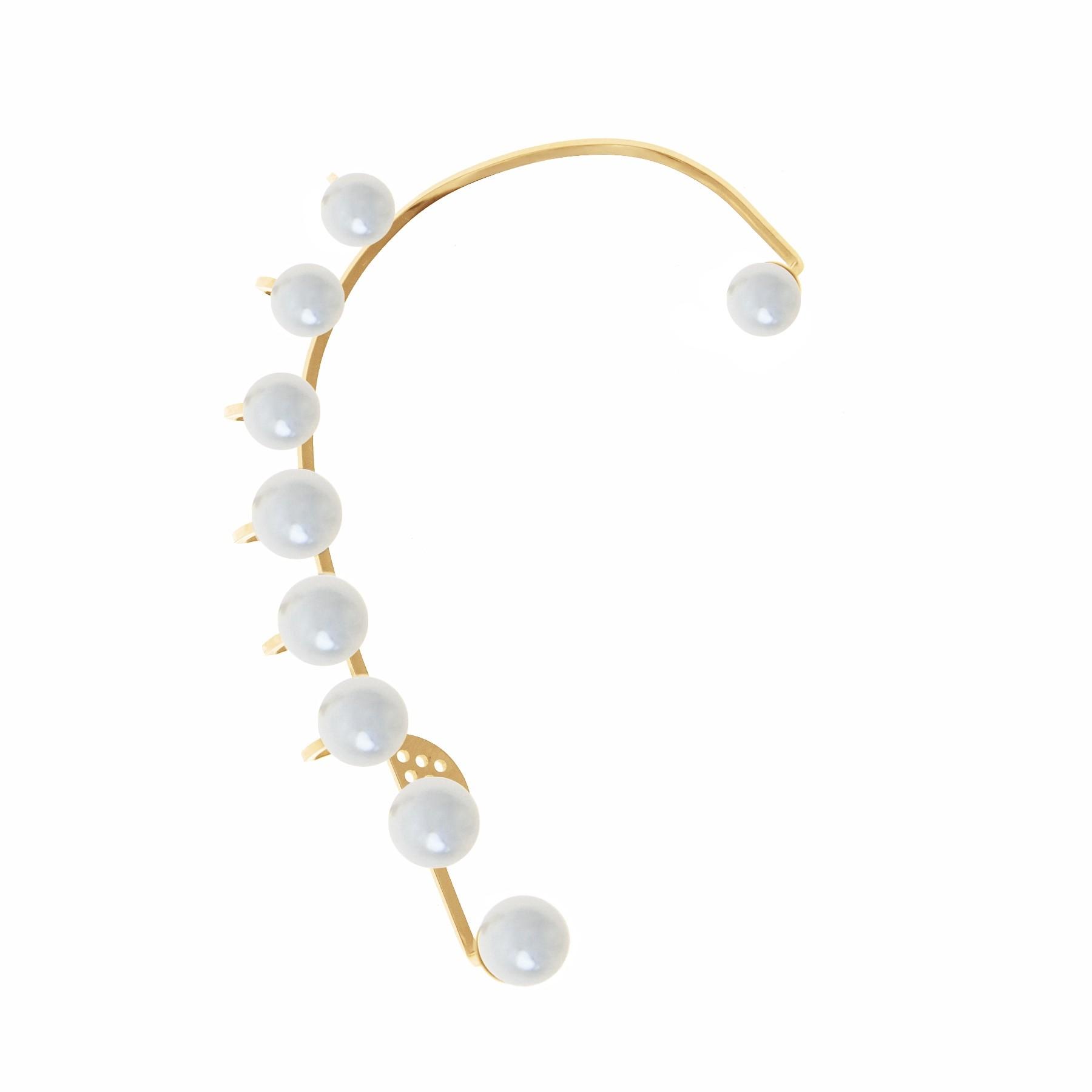 Ear cuff Pearls - droit,  plaqué or