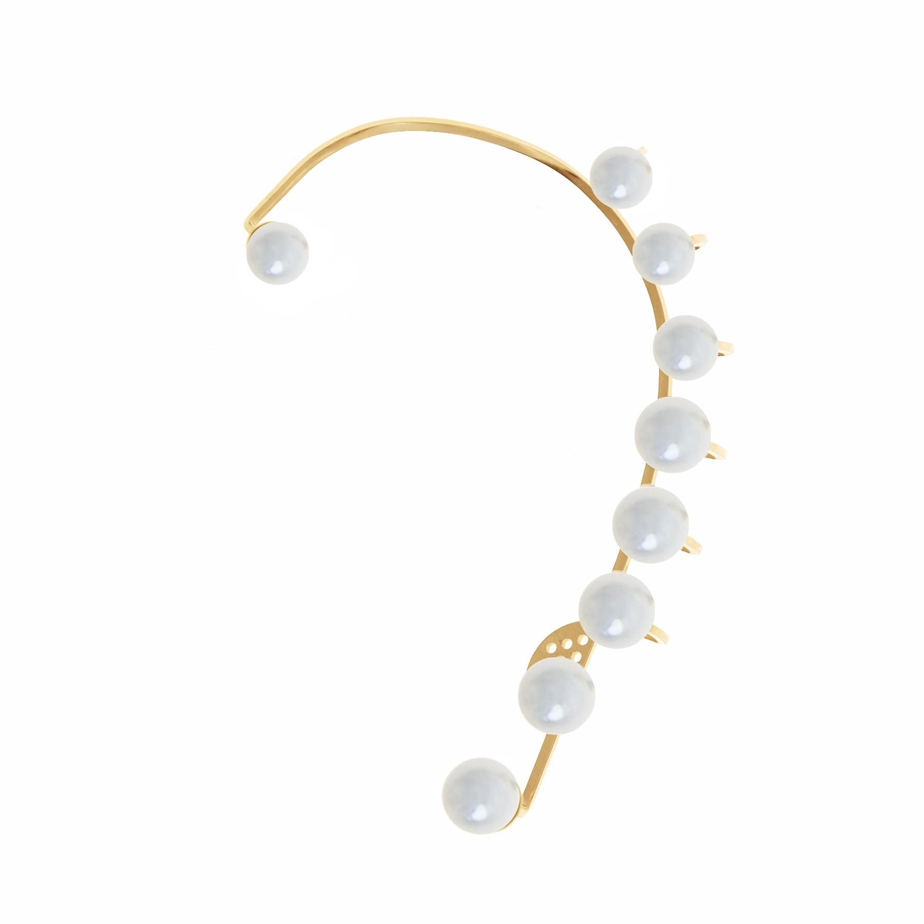 Ear cuff Pearls - gauche, plaqué or