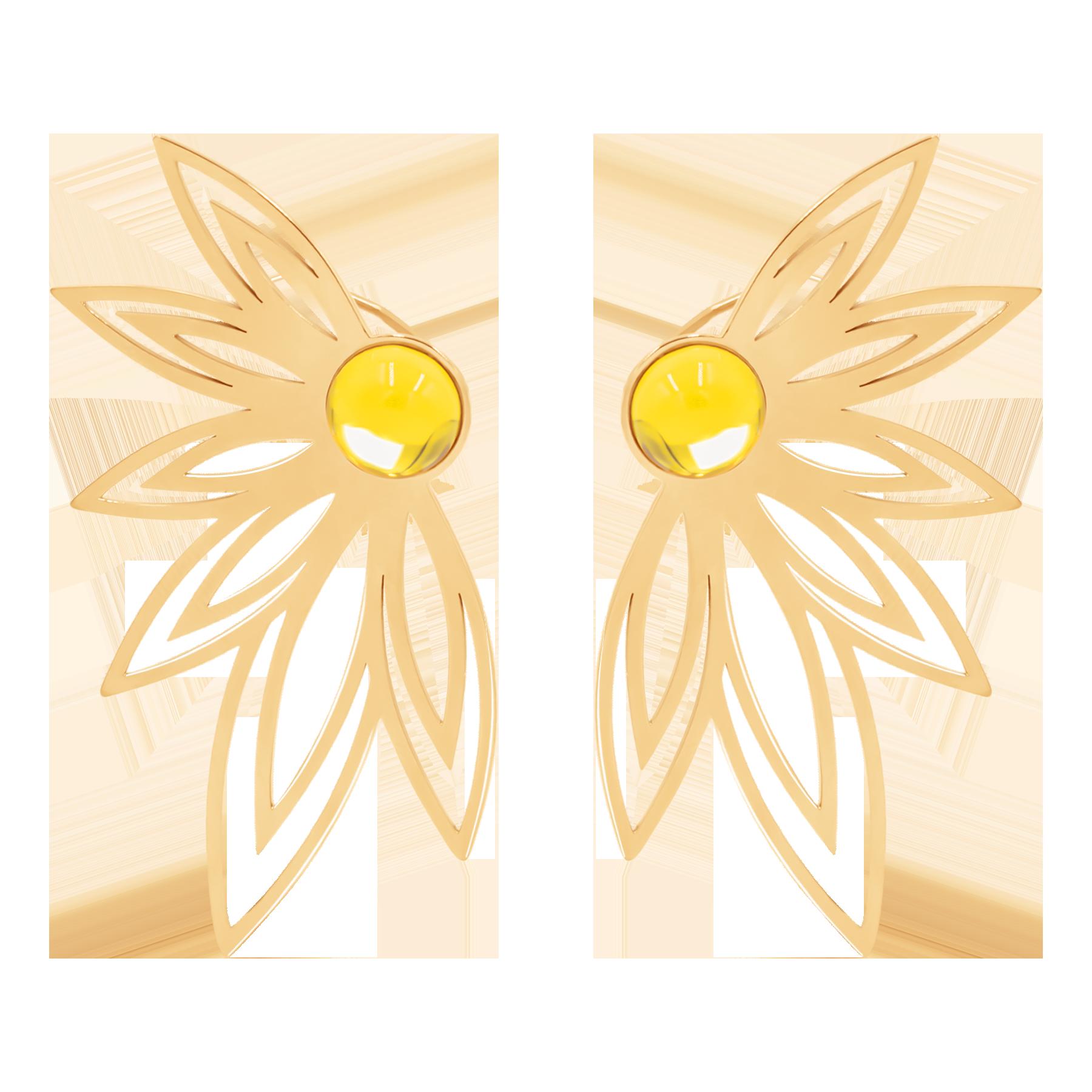 Boucles d'oreilles Sunshine avec une citrine