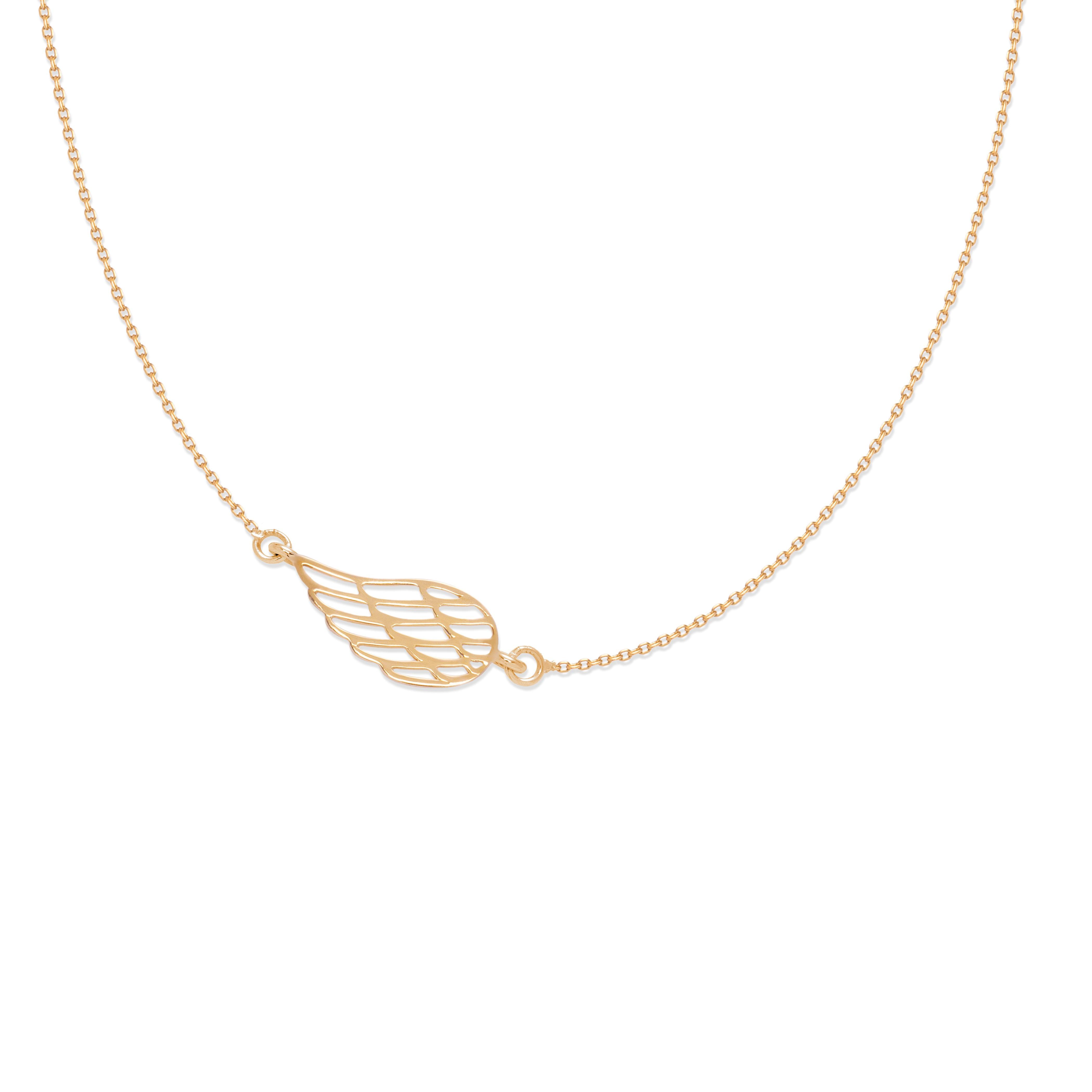 Collier chaîne avec aile ajourée plaquée or