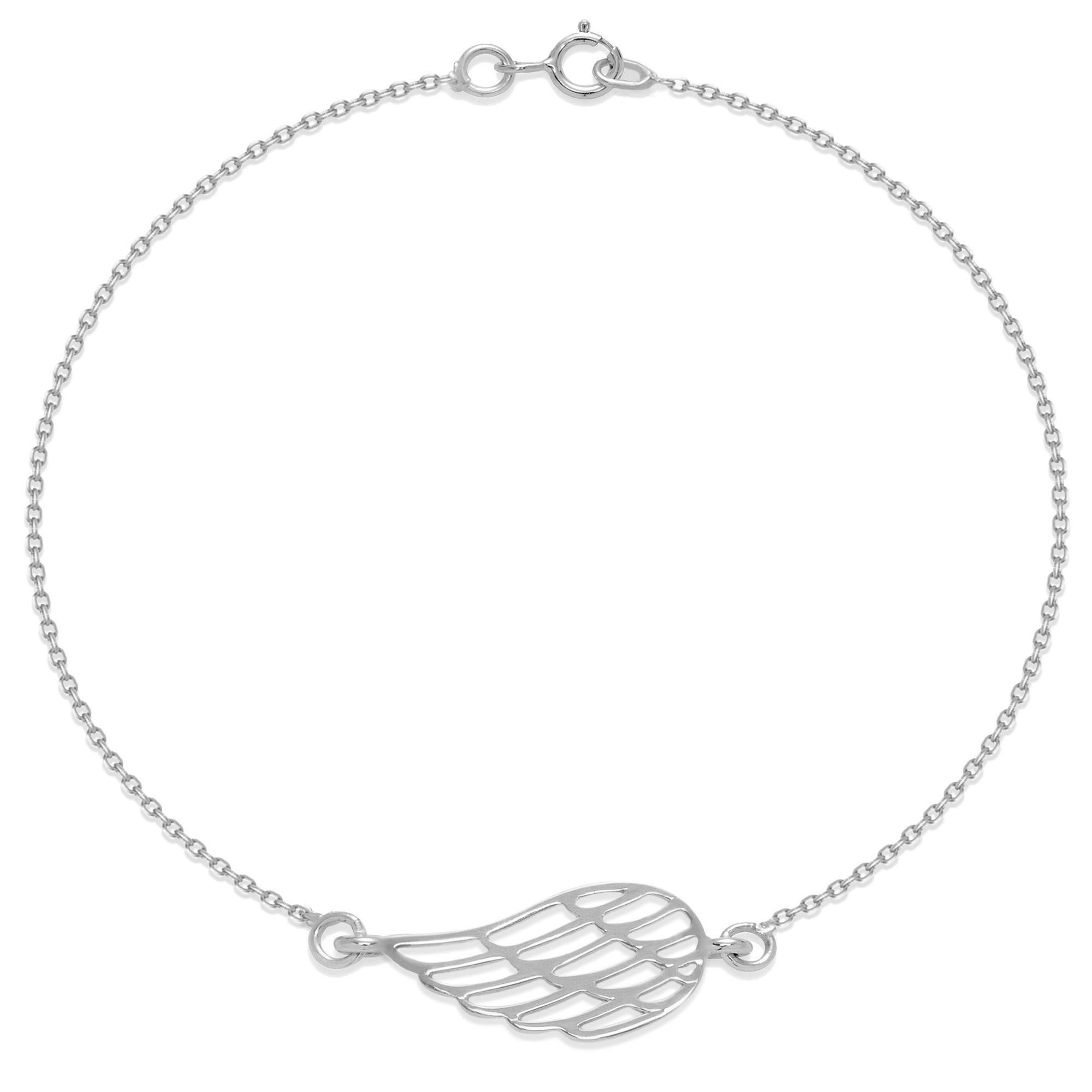 Bracelet chaîne avec une aile ajourée en argent
