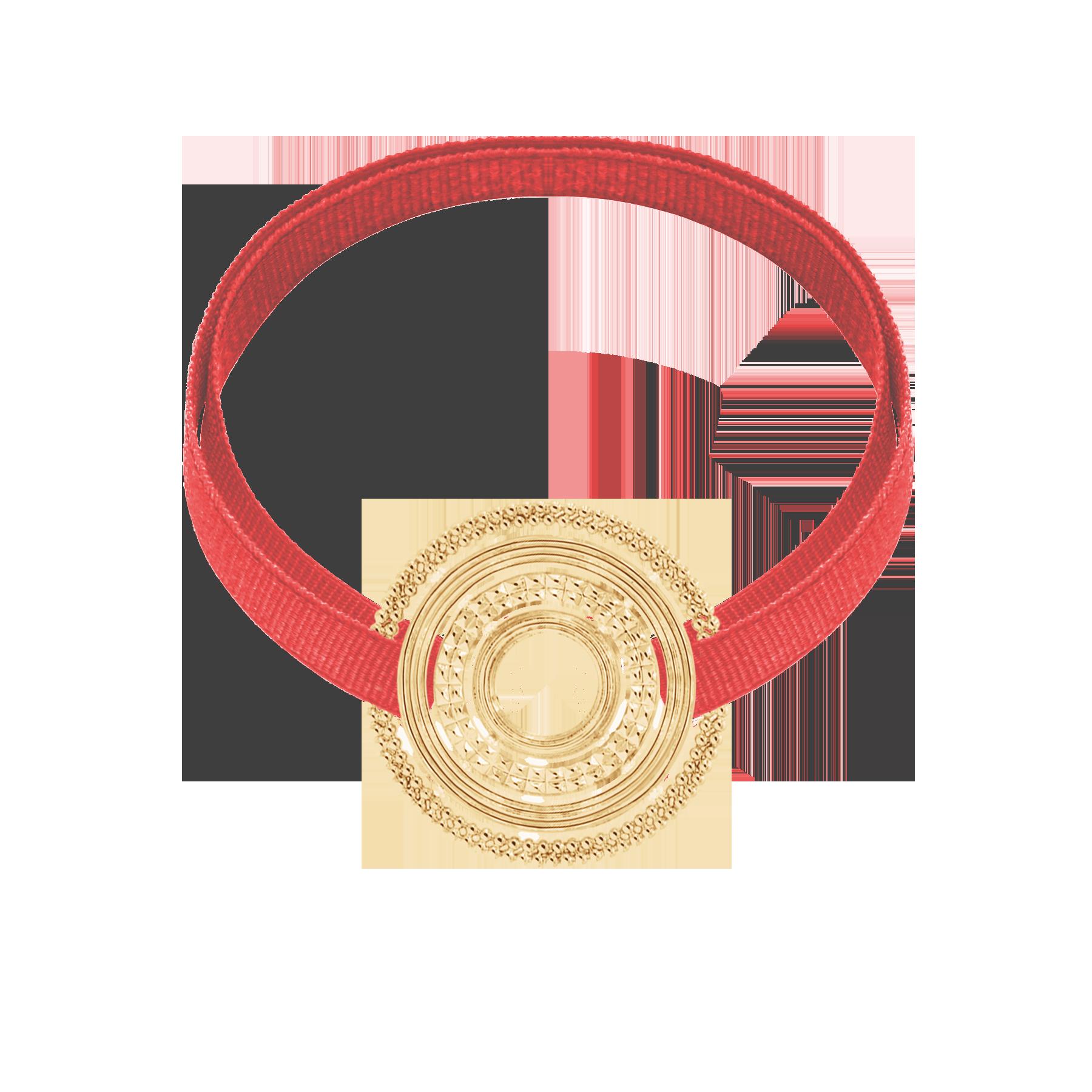 Bracelet avec élément ETNO plaqué or sur ruban corail
