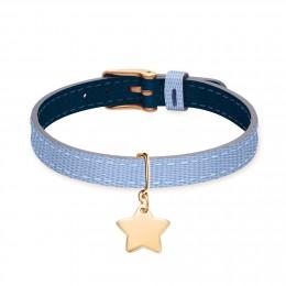 Bracelet en cuir bicolore avec une étoile plaqué or