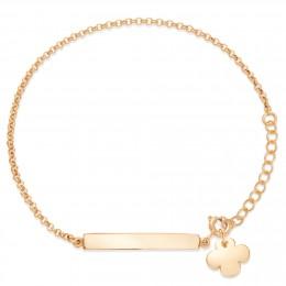 Bracelet chaîne avec plaque et trèfle en plaqué or