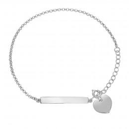 Bracelet avec plaque et cœur plaqué or