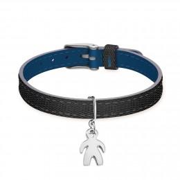 Bracelet en cuir bicolore avec en garçonnet en argent