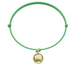 Bracelet avec pendentif quartz vert plaqué or, sur cordon fin vert gazon