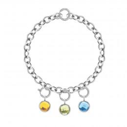 Bracelet Chaîne No.1 avec pendentifs quartz jaune, vert et bleu