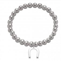 Bracelet en petites perles d'argent avec un fer à cheval d'argent