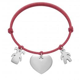 Bracelet avec fille, cœur et garçon en argent sur un cordon épais de couleur framboise