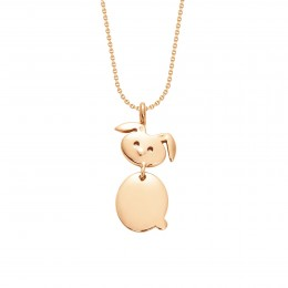 Collier avec un lapin doré sur une chaîne fine classique