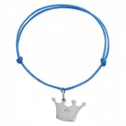 Bracelet avec une couronne Princess en argent sur un cordon épais bleu premium