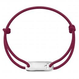 Bracelet avec plaque trèfle en argent sur un cordon épais de couleur prune