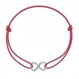 Bracelet avec signe de l'infini en argent sur un cordon fin de couleur framboise