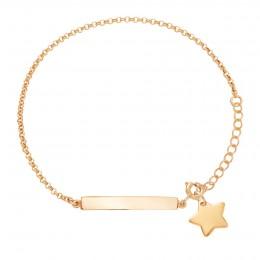 Bracelet avec plaque et étoile plaquée or