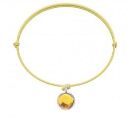 Bracelet avec pendentif quartz jaune plaqué argent, sur cordon fin jaune