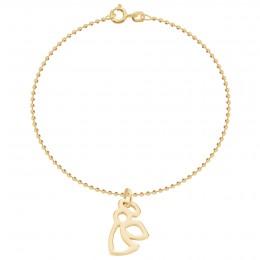 Bracelet sur chaîne à billes avec un ange doré ajouré
