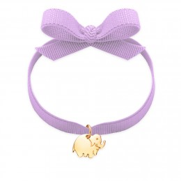 Bracelet ruban de couleur lavande avec un éléphant plaqué or