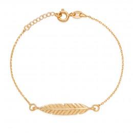 Bracelet chaîne avec une Plume plaquée or