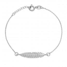 Bracelet chaîne avec une Plume en argent