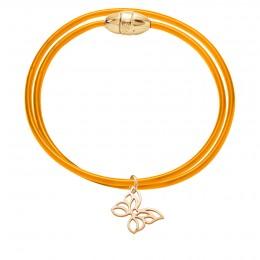 Bracelet double Saint-Tropez avec papillon ajouré plaqué or