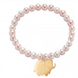 Bracelet en petites perles roses avec un éléphant plaqué or