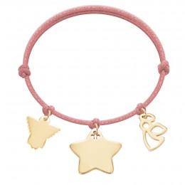 Bracelet avec angelot ajouré, étoile et angelot plaqués or sur un cordon épais de couleur rose