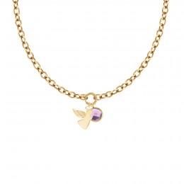 Collier chaîne No.1 avec ange et quartz violet