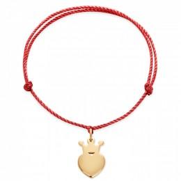 Bracelet avec une couronne King plaquée or sur un cordon épais rouge premium