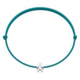 Bracelet avec un garçon Etincelle en argent sur un cordon fin turquoise