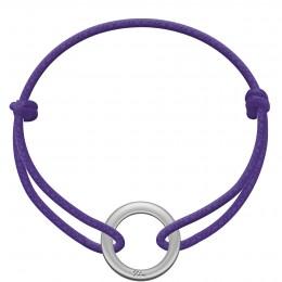 Bracelet avec médaillon La Roue en argent sur un cordon épais violet