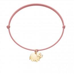 Bracelet avec éléphant plaqué or sur un cordon fin de couleur rose