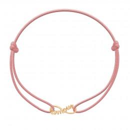 Bracelet avec signe de l'infini Amour plaqué or sur un cordon fin de couleur rose