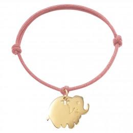Bracelet avec éléphant plaqué or sur un cordon épais de couleur rose