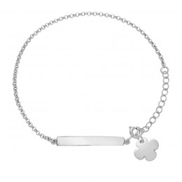 Bracelet avec plaque et trèfle rond en argent