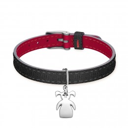 Bracelet en cuir bicolore avec une petite fille avec deux couettes en argent
