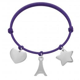 Bracelet avec un cœur en argent, une tour Eiffel et une étoile sur une ficelle épaisse violette