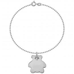 Bracelet aven un nounours en argent sur chaîne à billes