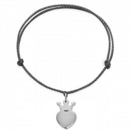 Bracelet avec une couronne King en argent sur un cordon épais noir premium