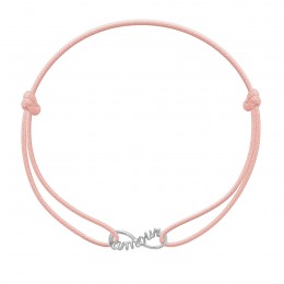 Bracelet avec signe de l'infini Amour en argent sur un cordon fin rose clair