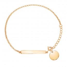 Bracelet avec plaque et médaillon plaqué or