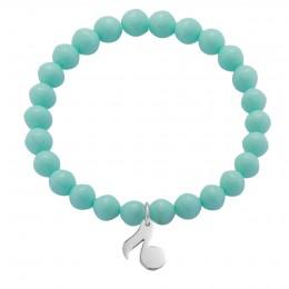 Bracelet avec une note en argent sur petites boules en cristal couleur menthe